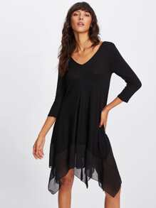 Contrast Mesh Hanky Hem Dress