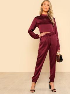 Mock Neck Crop Pullover & Sweatpants Set