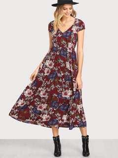 Button Up Front Floral Ruffle Hem Dress