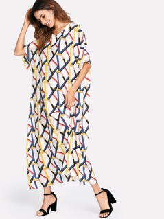 Allover Geometric Pirnt Loose Dress