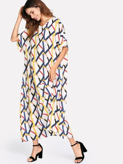 Allover Geometric Pirnt Loose Dress