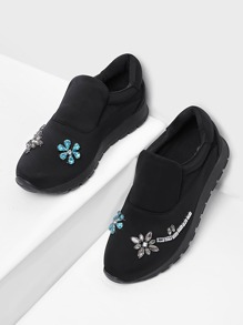 Rhinestone Design Slip On Sneakers
