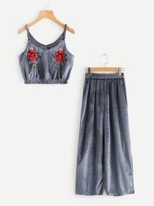 Embroidered Appliques Velvet Cami Top With Pants Set