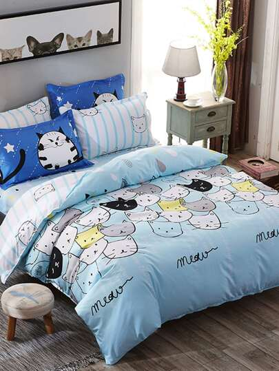 2.2m 4Pcs Cat Print Bedding Set