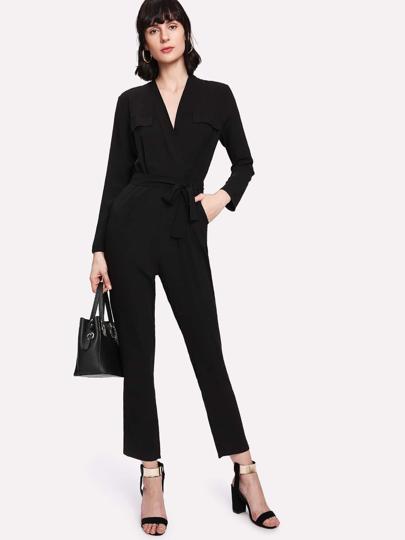 V Neckline Self Tie Waist Jumpsuit plus size lace panel longline tank top
