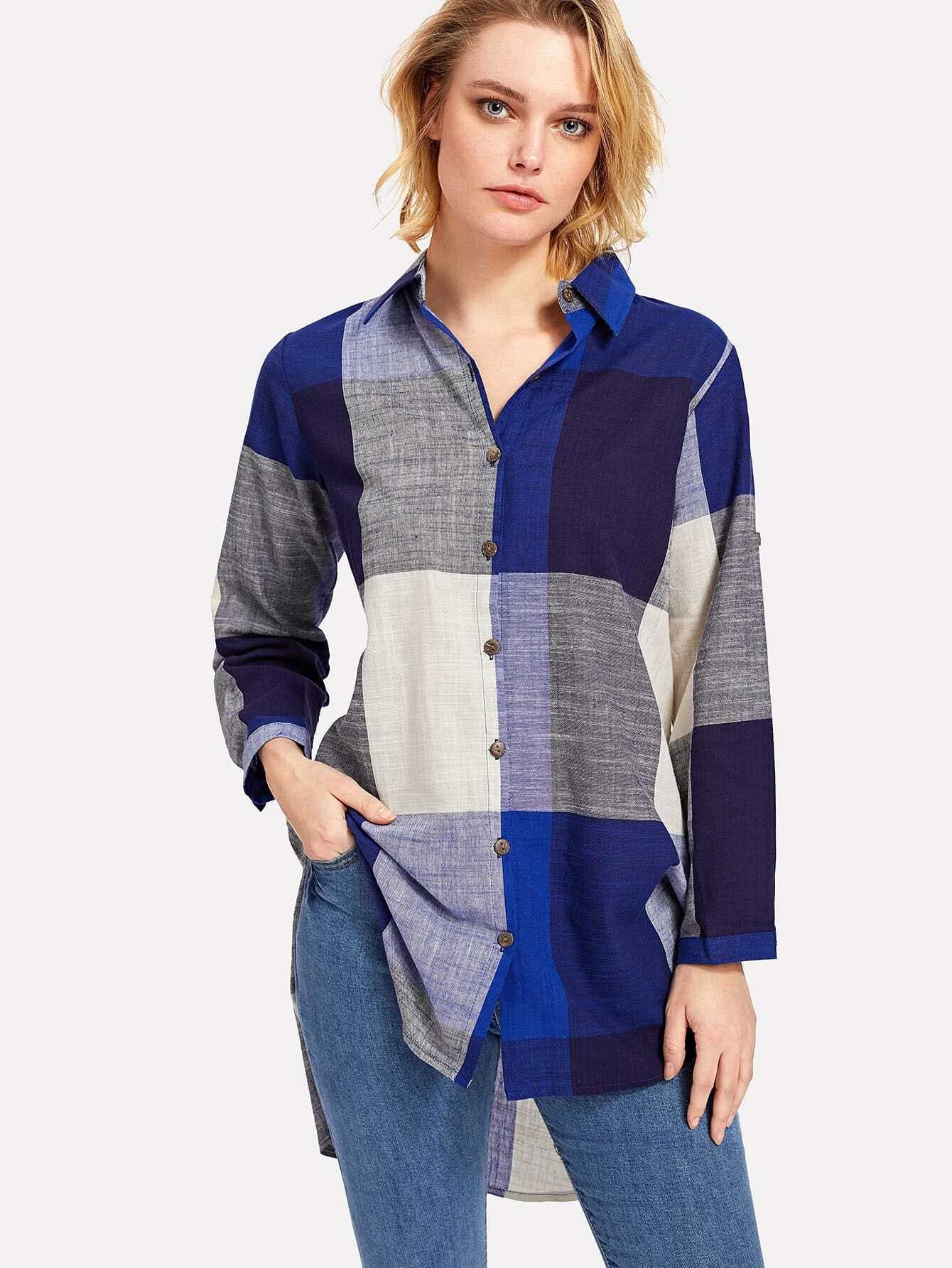 Slit Side High Low Plaid Shirt side slit high low shirt collar long sleeve shirt
