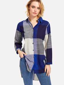 Slit Side High Low Plaid Shirt