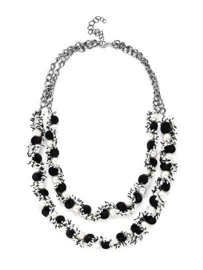 Two Tone Layered Necklace With Faux Pearl