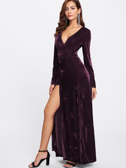Overlap Front M-Slit Velvet Dress