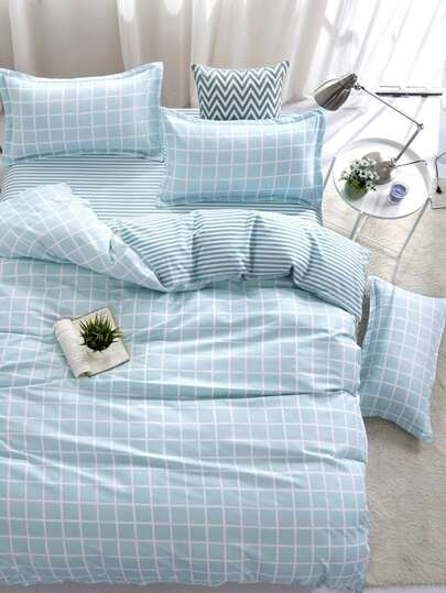 1.2m 4Pcs Plaid & Striped Duvet Cover Set