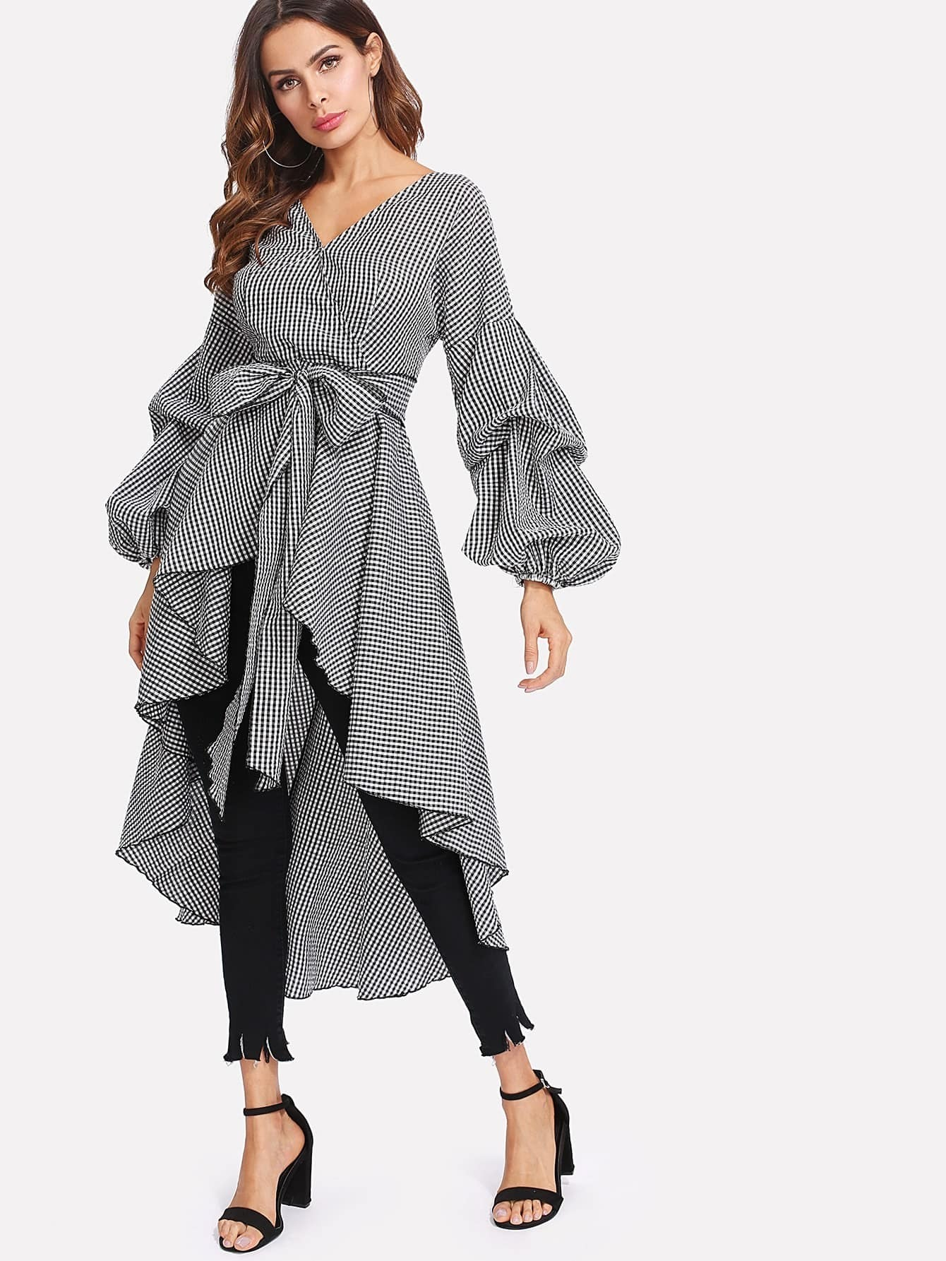 Gathered Sleeve Curved Dip Hem Gingham Dress gathered sleeve curved dip hem gingham dress
