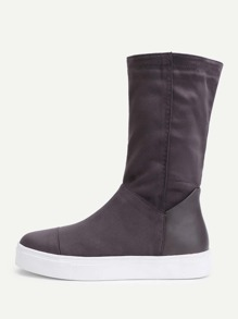 Round Toe Flatform Mid Calf Boots