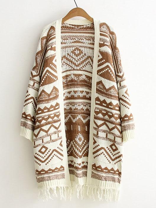 Drop Shoulder Geo Pattern Fringe Hem Cardigan drop shoulder fringe trim sweatshirt