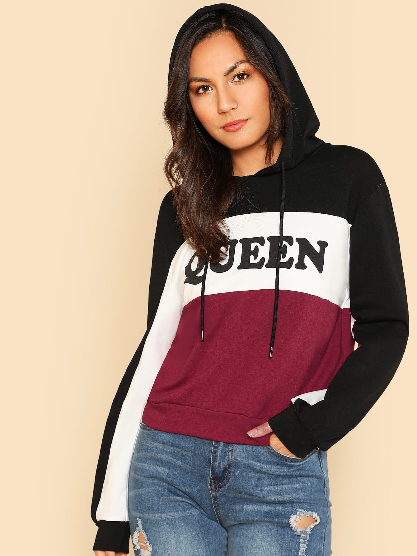 Купить Контрастный модный свитшот с принтом и капюшоном, Kendall Marie, SheIn