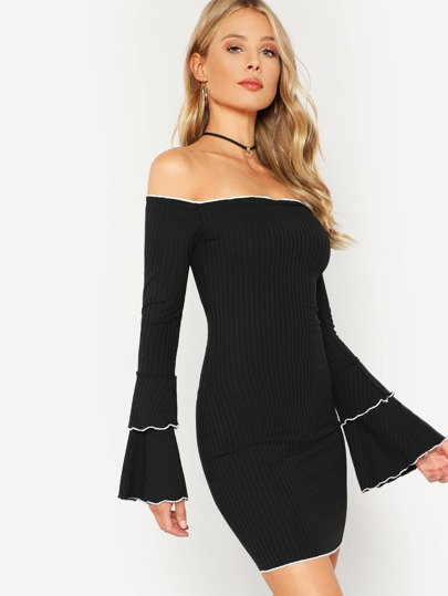Lettuce Edge Ribbed Off Shoulder Dress BLACK