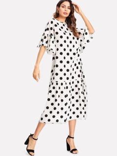 Ruffle Sleeve And Hem Dress