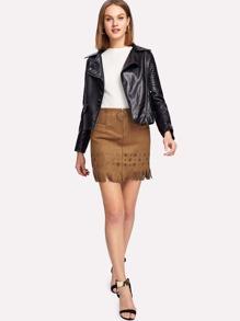 Zip Front Fringe Hem Suede Skirt