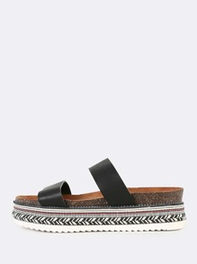 Two Strap Embellish Platform Sandals BLACK