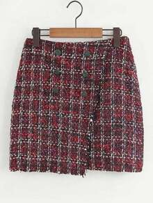 Double Breasted Plaid Tweed Skirt