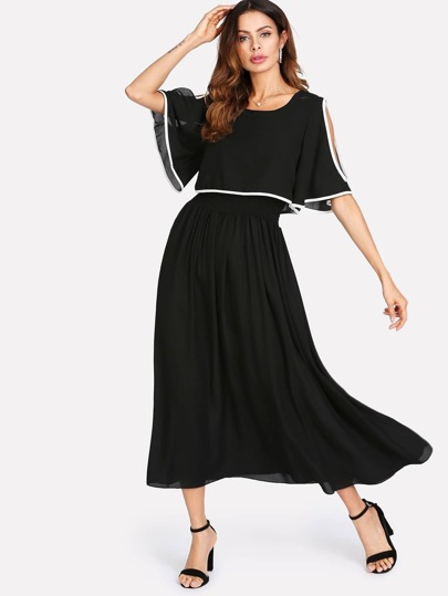 Cutout Contrast Binding Double Layer Dress