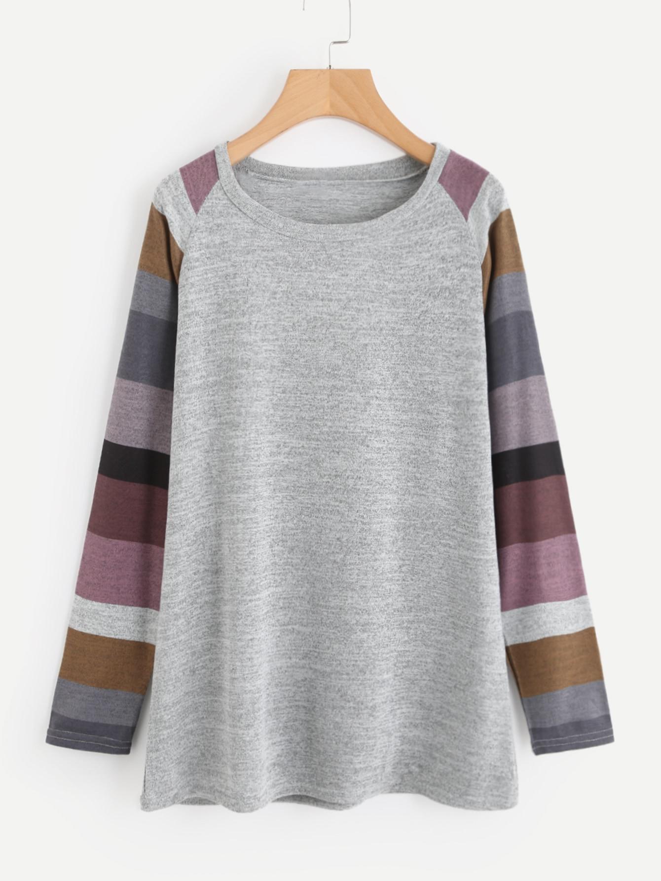 Contrast Striped Raglan Sleeve Marled Knit Tee raglan sleeve marled knit dress