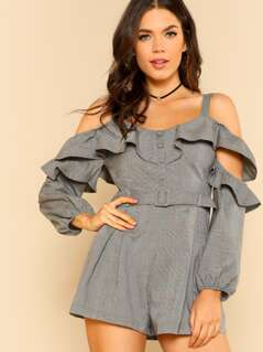 Checkered Cold Ruffled Shoulder Belted Romper