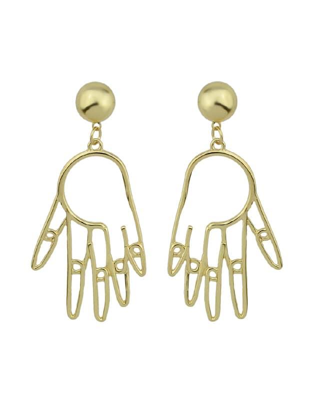 Hand Shape Hanging Statement Geometric Drop Earrings geometric shape triangle drop earrings