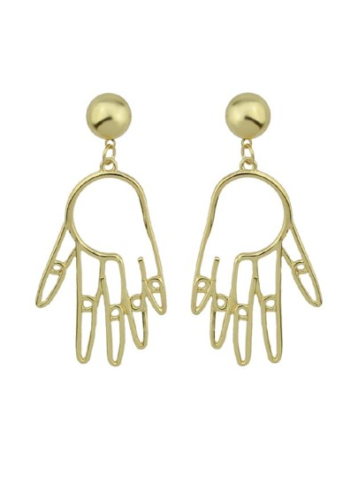 Hand Shape Hanging Statement Geometric Drop Earrings