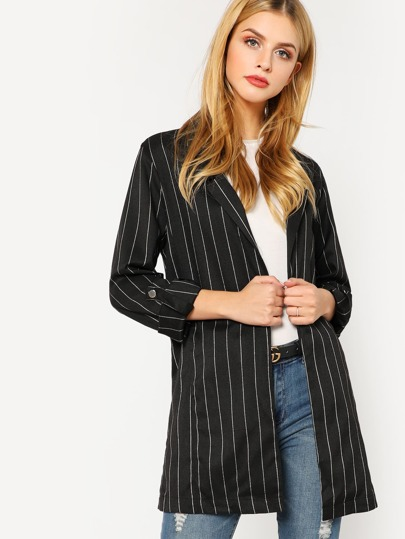 Roll Tab Sleeve Open Front Pinstripe Coat