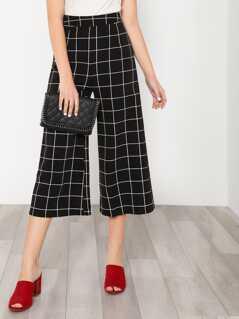 Checker Cropped Palazzo Pants BLACK