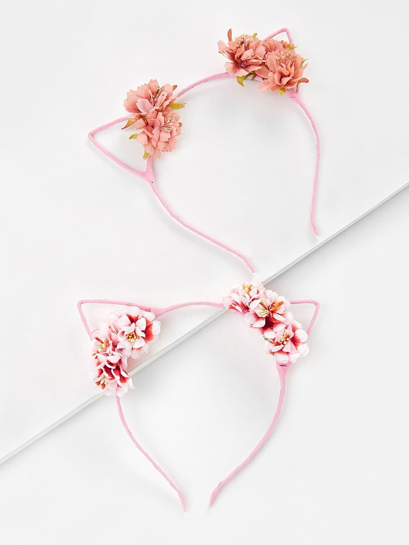 Cat Ear Flower Decorated Headband 2pcs lace cat ear design headband 2pcs