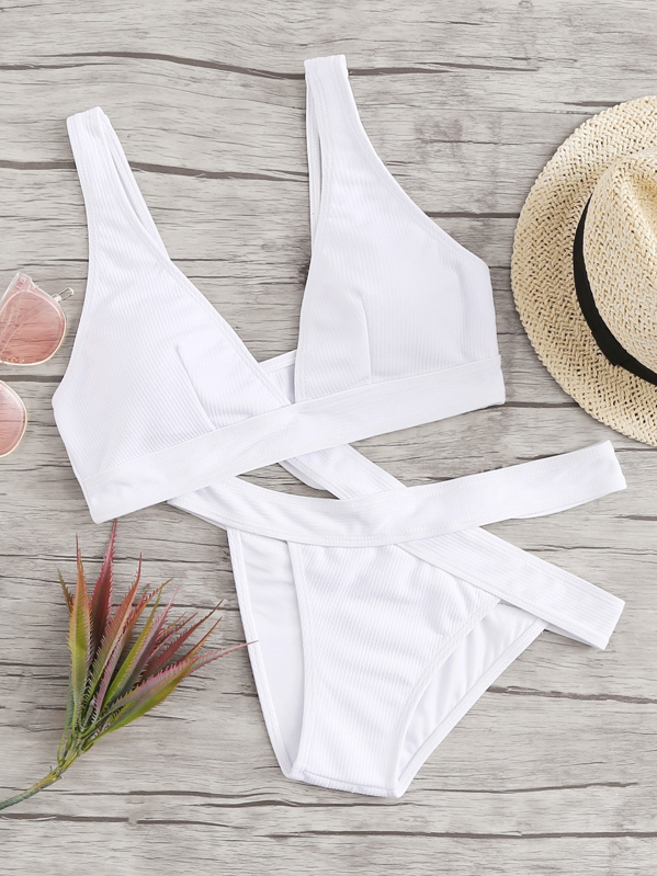 Ribbed Plunge Top With Cut-out Side Bikini Set, null