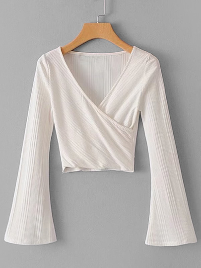 Bell Sleeve Surplice Crop Top