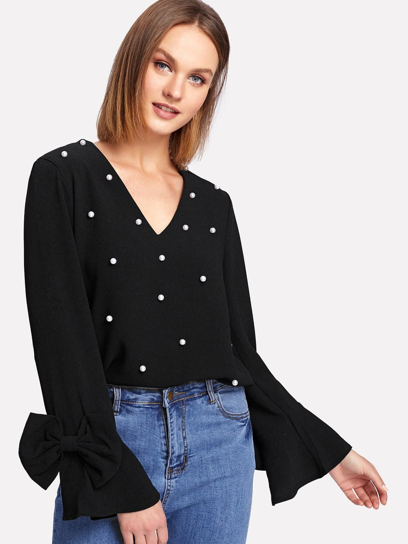 Bow Embellished Bell Sleeve Pearl Beaded Top pearl detail layered bell sleeve ribbed top