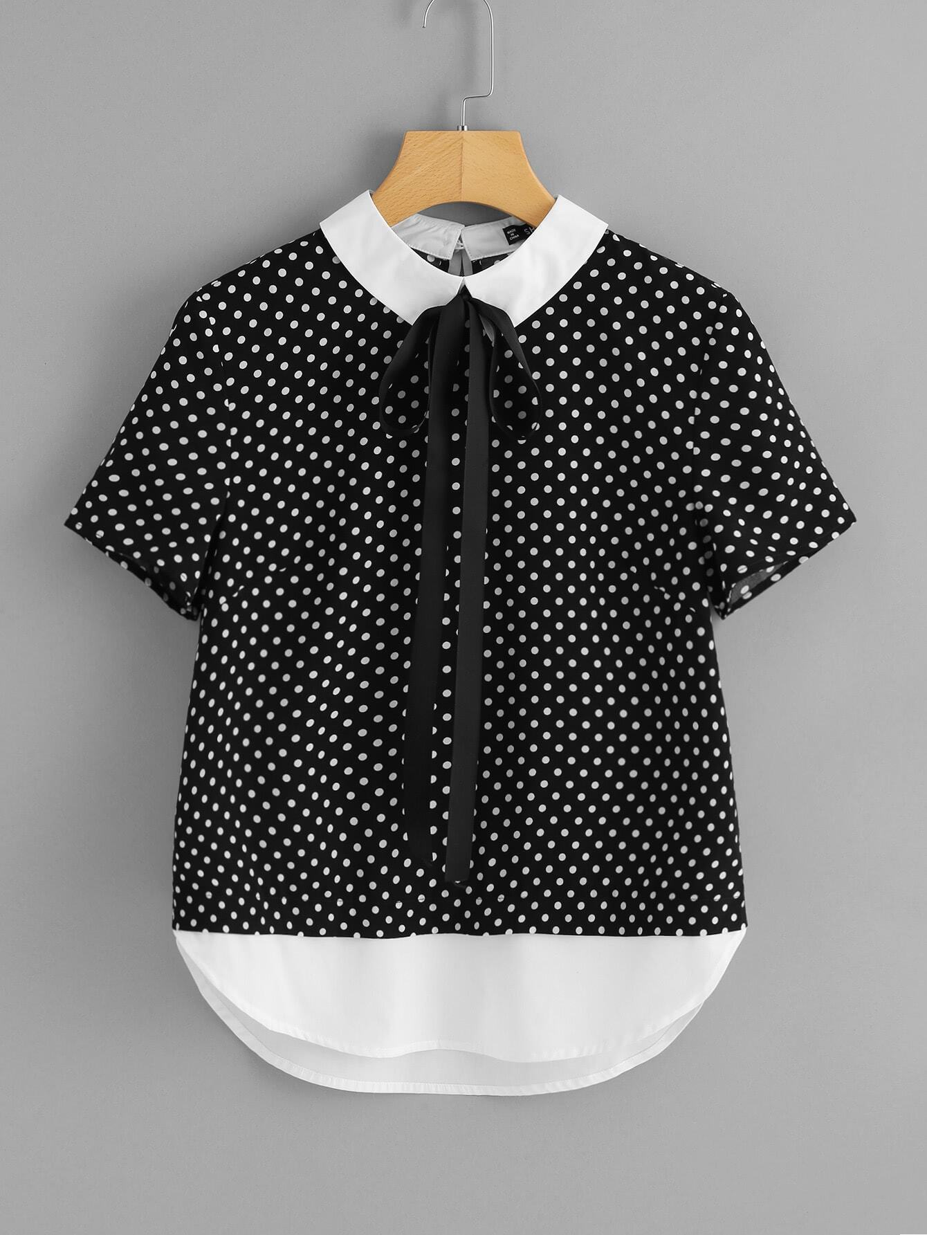 Contrast Collar And Hem Polka Dot Top polka dot slit hem contrast dress