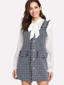 Raw Edge Checked Pinafore Dress