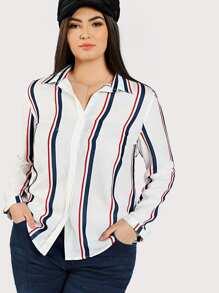 Dolphin Hem Striped Shirt