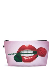 Rose & Lips Print Makeup Bag
