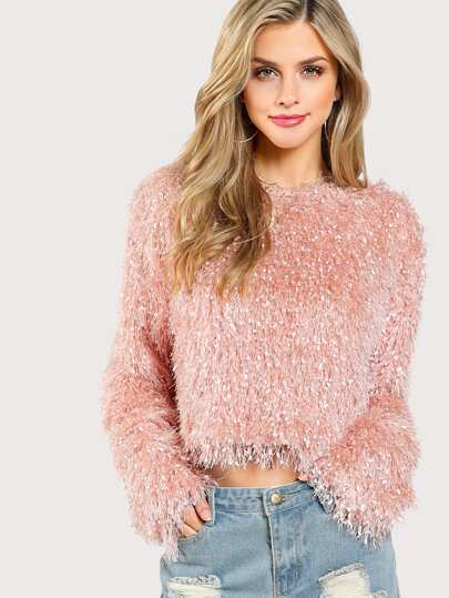 Glitter Faux Fur Crop Top
