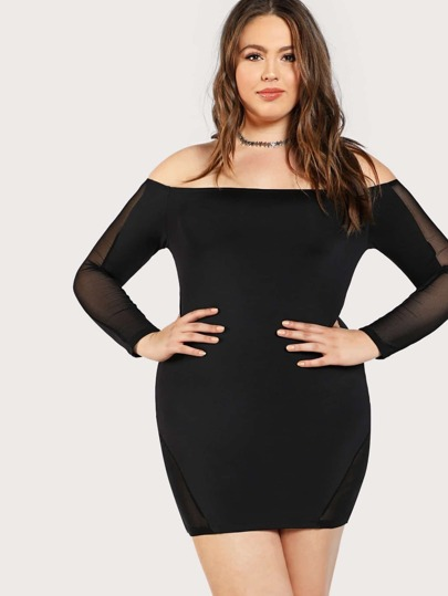 Mesh Insert Bardot Dress