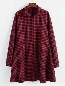 Gingham Smock Shirt Dress