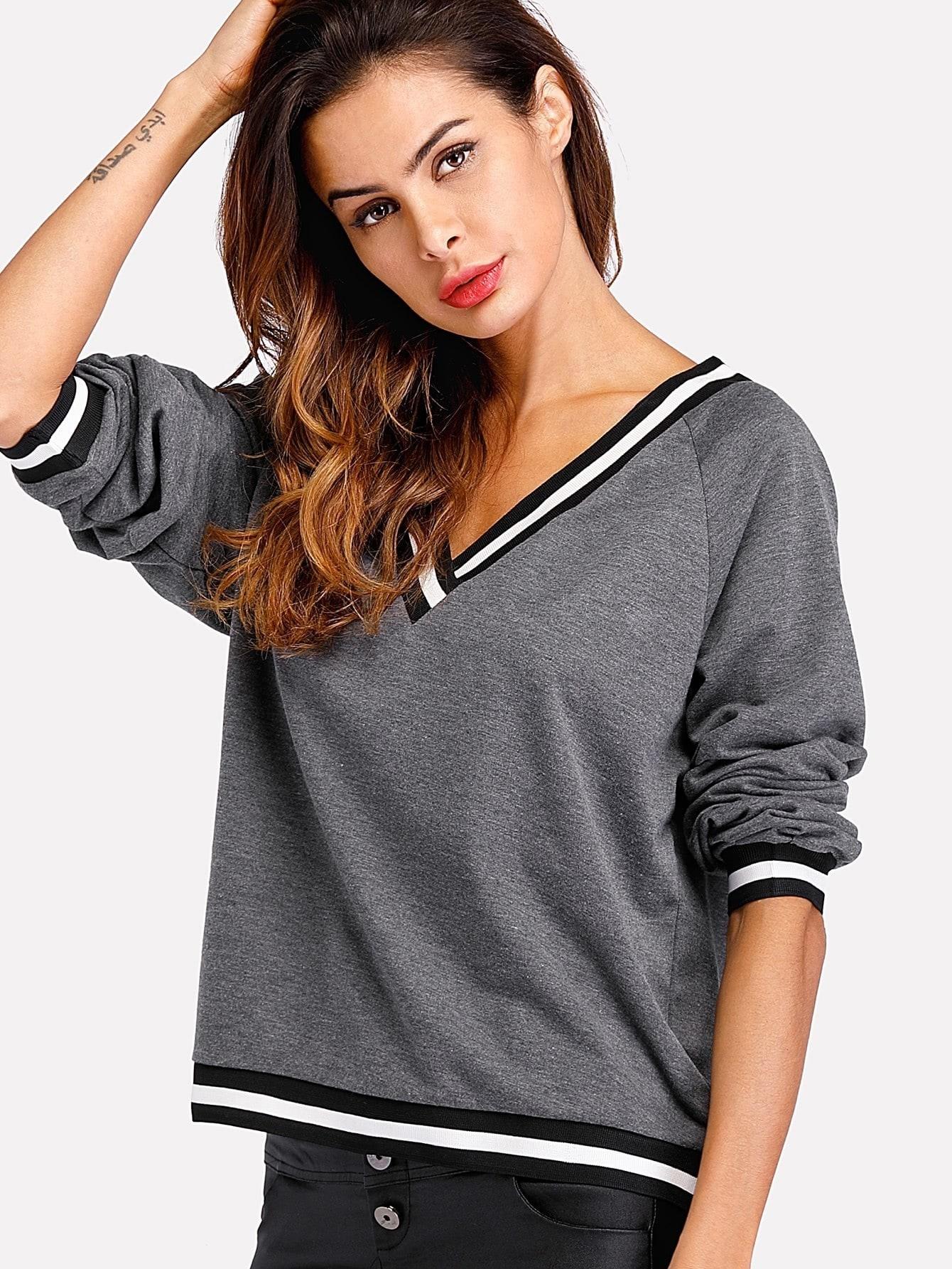 Contrast Striped Trim Marled Sweatshirt