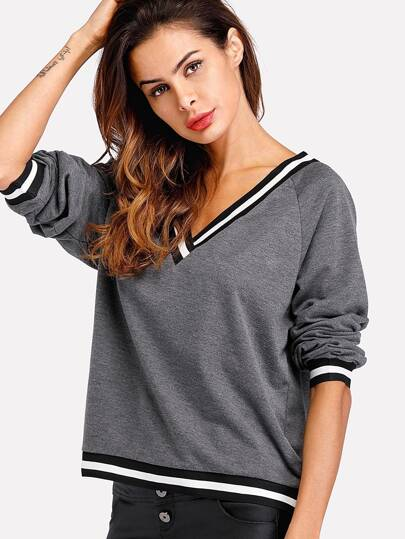 Contrast Striped Trim Marled Sweatshirt