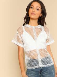 Pleated Frill Trim Striped Sheer Blouse