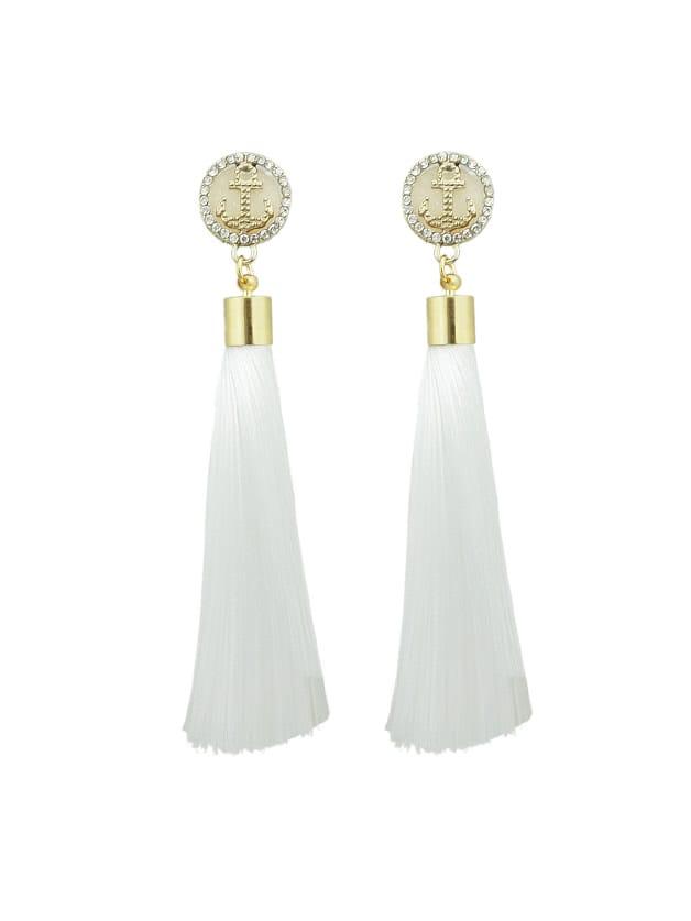 Weißer Anker Dekoration mit langen Quaste Ohrringe