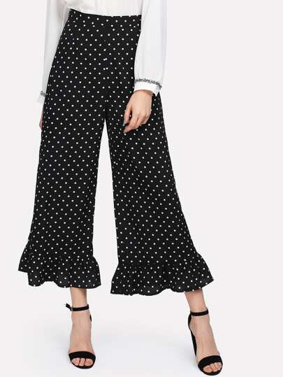 Allover Polka Dot Ruffle Hem Pants