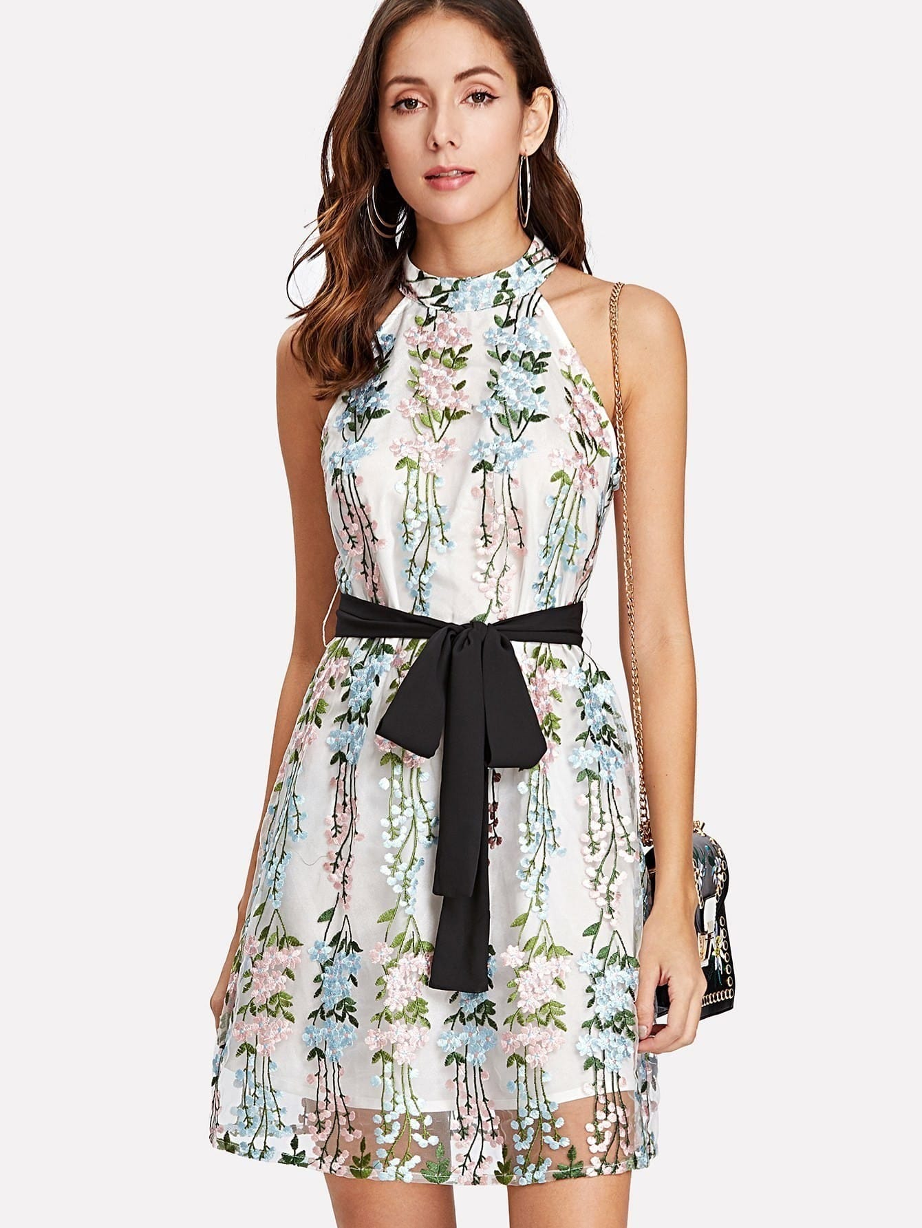 Applique Mesh Overlay Halter Dress applique mesh overlay fit