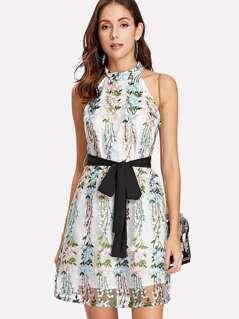Applique Mesh Overlay Halter Dress