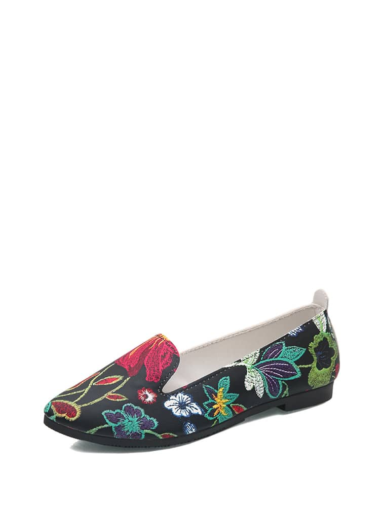 Floral Embroidery Flat Loafers