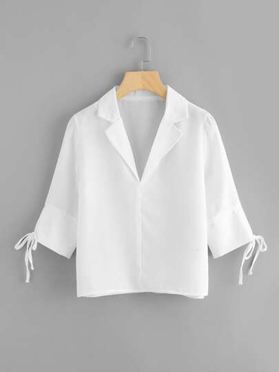 Notch Collar Tied Sleeve Blouse